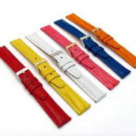 Coloured Padded Lizard Grain Leather Watch Strap 18mm 20mm 6 Colours C008